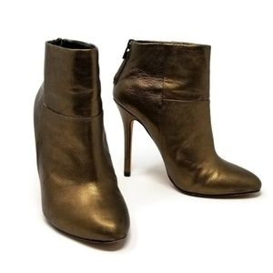 Charles David Metallic Leather Stiletto Ankle Boot